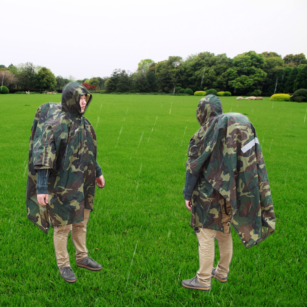 Multi-function Unisex Raincoat Backpack Raincover Poncho Picnic Ground Mat by