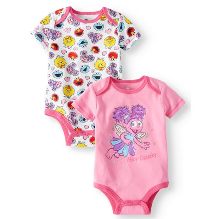 Sesame Street Graphic Bodysuits, 2-pack (Baby Girls) - Superhero Bodysuit