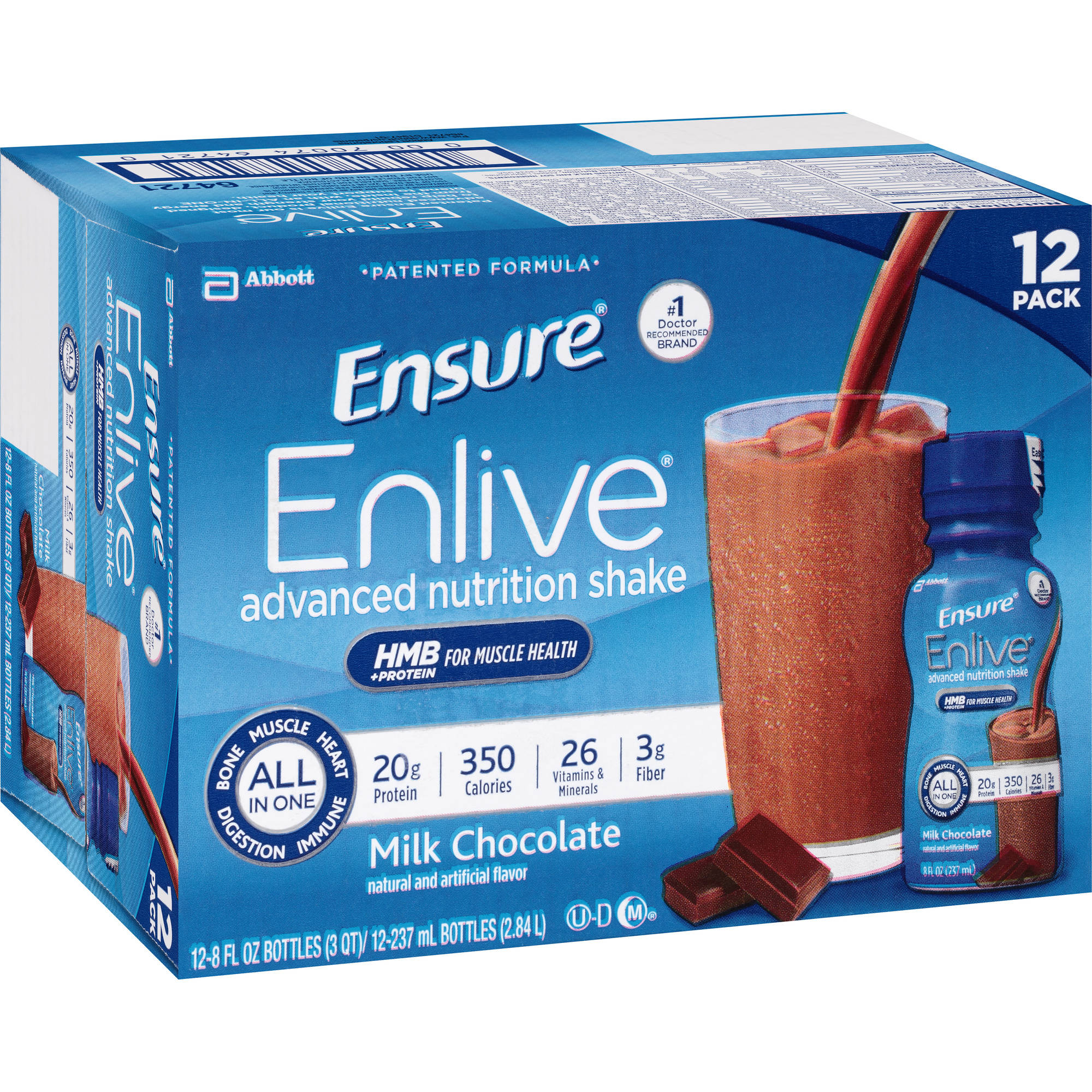 Ensure Enlive Milk Chocolate Advanced Nutrition Shakes, 8 fl oz, 12 count