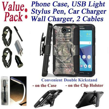 ~Value Pack~ for Samsung Galaxy J7 2017 J7 Sky Pro J730 Perx J727 Case Phone Case Clip Holster 2 Kickstands Hybrid Shockproof Bumper Cover Camo Forest