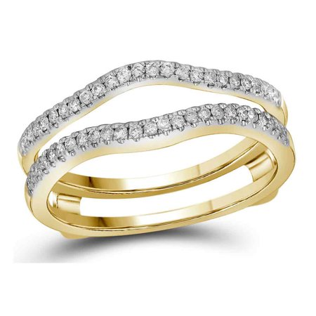 14kt Yellow Gold Womens Diamond Ring Guard Wrap Solitaire Band Enhancer 1/4 Cttw (Gold Diamond Solitaire Ring Guard)