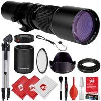 Opteka 500mm/1000mm f/8 Manual Telephoto Lens + Tripod Kit for Nikon D5, D4S, DF, D4, D850, D810, D750, D610, D500, D7500, D7200, D5600, D5500, D5300, D5200, D3400, D3300, D3200 Digital SLR Cameras