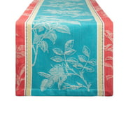 "72"" Sky Blue and Red Rectangular Table Runner with Mitered Corners"