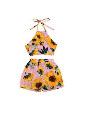 Toddler Baby Summer Clothing Newborn Baby Girl Sunflowers Print Sleeveless Strap Crop Tops Floral Pants Outfits 2PCS Set Clothes
