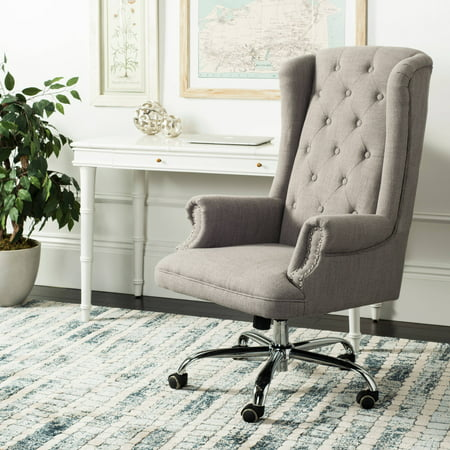 Safavieh Ian Linen Chrome Leg Swivel Office Chair Grey