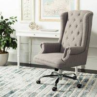 Safavieh Ian Linen Chrome Leg Swivel Office Chair, Grey/chrome