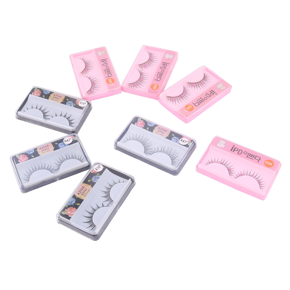 Woman Artificial Plastic Reusable Base Cosmetic False Eyelashes Black 8 Pairs