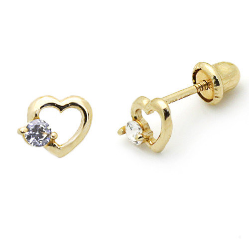 Double Accent 14K Cute Heart Cubic Zirconia Stud Earrings