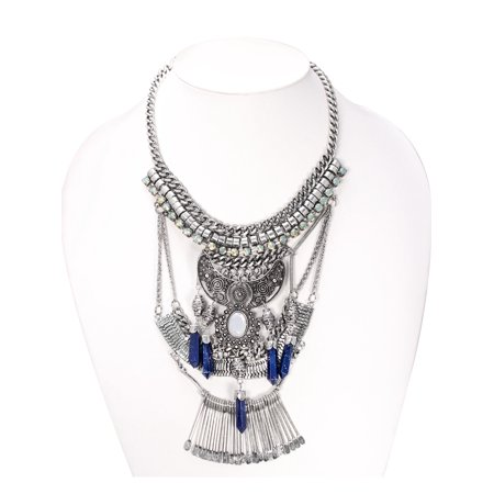 TAZZA WOMEN'S OXIDIZED ANTIQUE LOOK VINTAGE BOHO SILVER CRYSTAL AND NAVY STONE ETHNIC STATEMENT NECKLACE