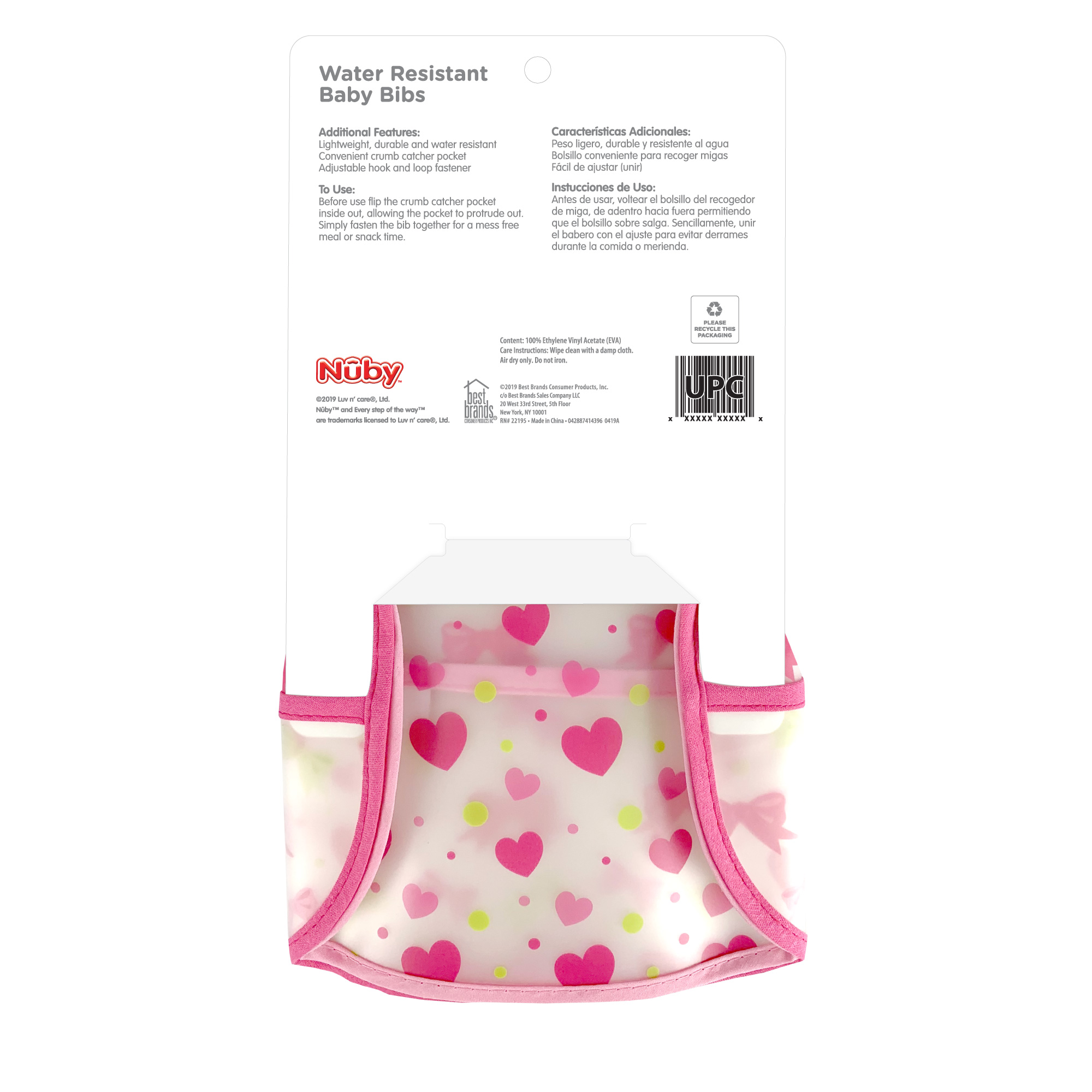 Horses Baby Feeding Bib with Easy Fastening When I Grow Up. Pink Trim