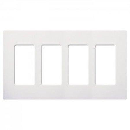 Lutron CW-4-WH Claro Screwless Wall Plate 4-Gang Decora Style Gloss White-2PK