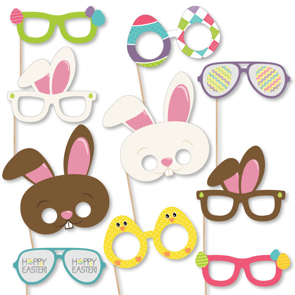 Hippity Hoppity Glasses & Masks - Paper Card Stock Bunny Easter Party Photo Booth Props Kit - 10 Count