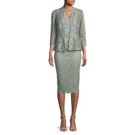 Alex Evenings Sleeveless - Tea-Length Lace Dress with Illusion Open Jacket