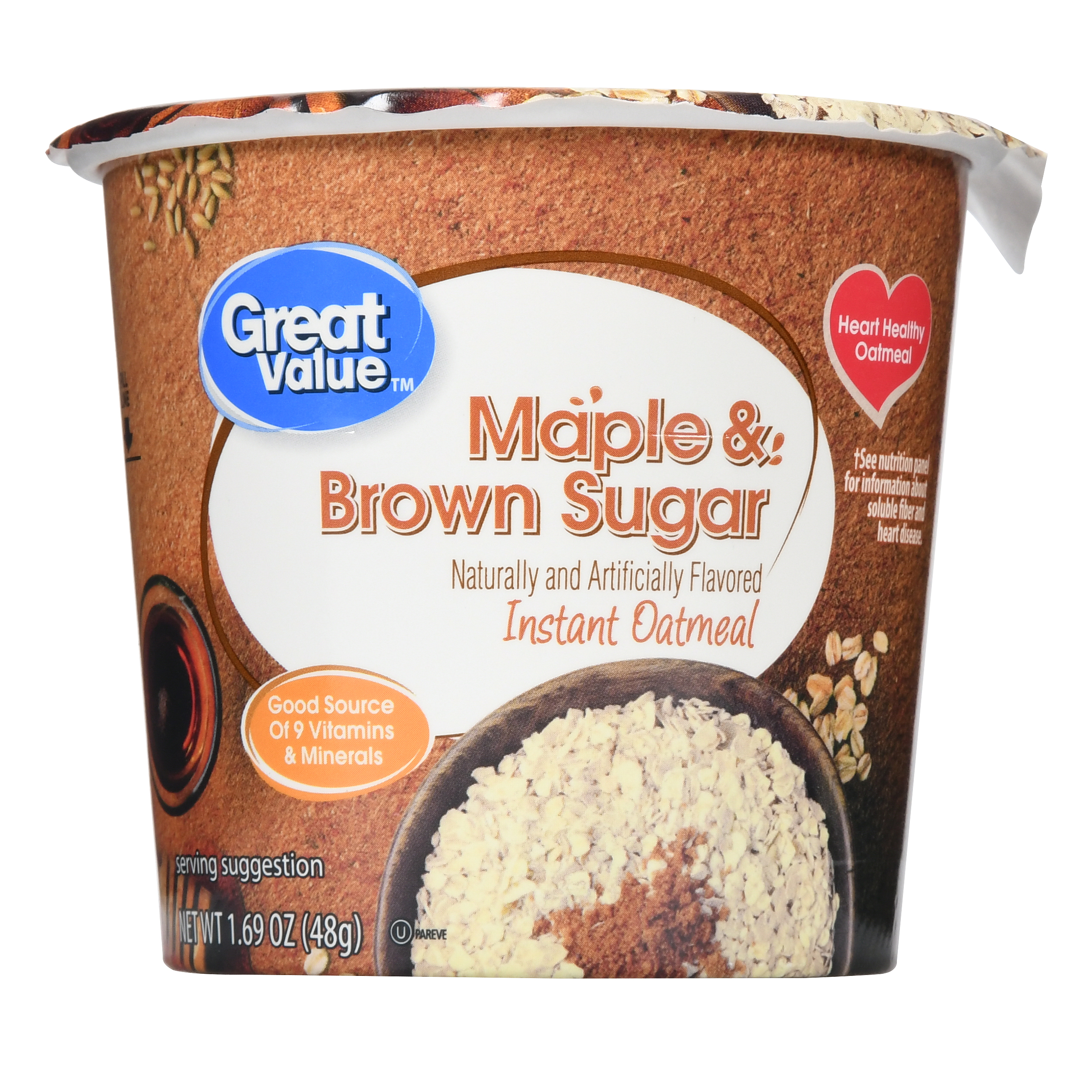 Great Value Instant Oatmeal Cup, Maple & Brown Sugar, 1.69 oz