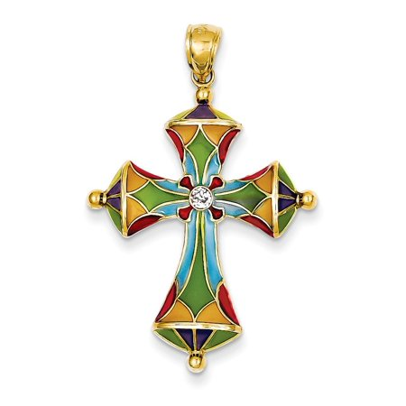 14k Yellow Gold Multi Color Enamel Cross Religious Pendant Charm Necklace Passion Gifts For Women For