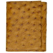 Ostrich Print Cowhide Leather Trifold Wallet with ID Window & Credit Card Slots 71107 OS