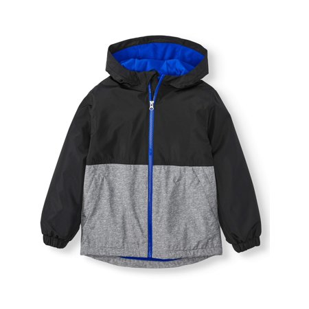 Wonder Nation Fleece Lined Rain Jacket (Little Boys, Big Boys & Husky) (Leather Jacket Boys 8 20)