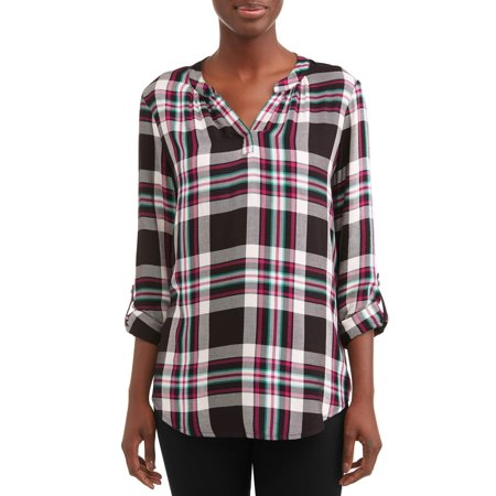 Women's Popover Tunic Plaid Top (Tunic Length Tops To Wear With Leggings)