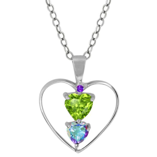 0.85 Ct Heart Shape Green Peridot Mercury Mist Mystic Topaz Silver Pendant