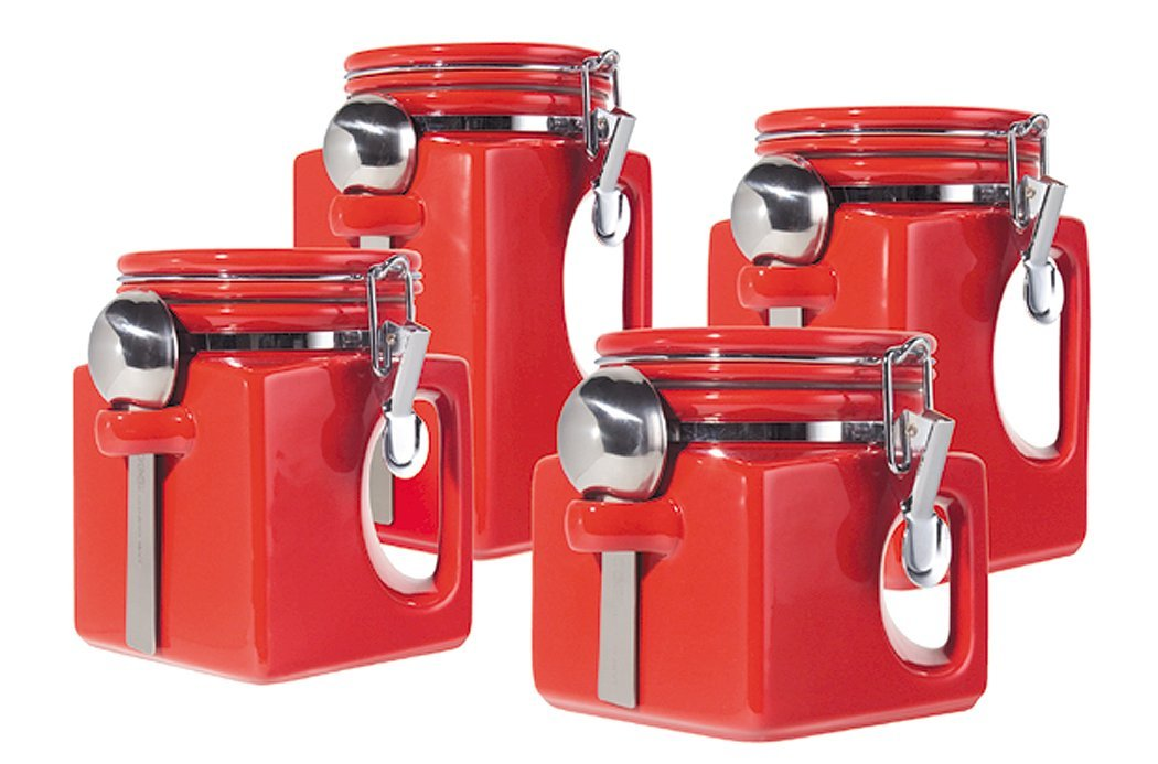 ... Storage Containers India · Oggi 4 Piece Black Ez Grip Airtight Ceramic Canisters With Stainless · Oil Container For Kitchen ...  sc 1 st  Kitchen Appliances Tips And Review & Kitchen Storage Containers Stainless Steel India - Kitchen ...
