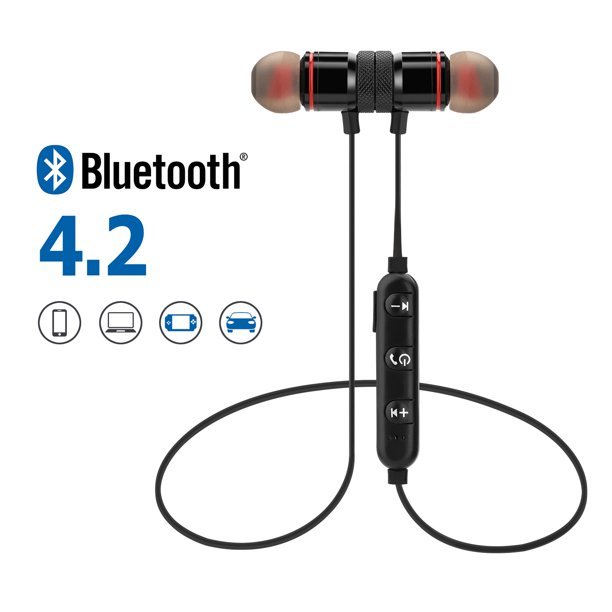 Agptek Metal Magnetic Wireless Bluetooth Earphone Sports Headset Stereo Bass Headphone Walmart Com Walmart Com