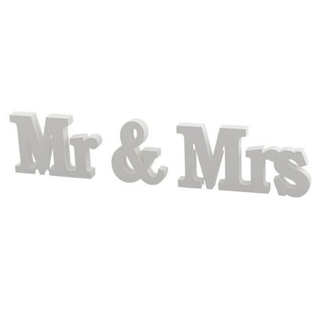 Unique Bargains 3 in 1 White Wedding Plywood  Mr and Mrs English Letters Word DIY Wall Alphabet Decoration - Diy Halloween Wall Decorations