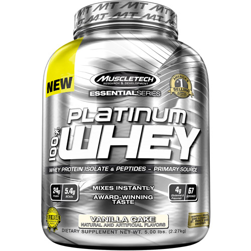 MuscleTech Essential Series Platinum 100% Whey Protein Isolate & Peptides Vanilla Cake Dietary Supplement Powder, 5 lbs