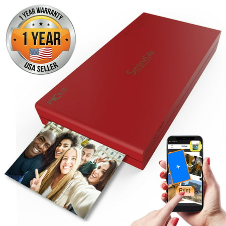 SereneLife PICKIT21RD - Portable Instant Photo Printer - Wireless Picture Printing for iPhone or Android Smartphone