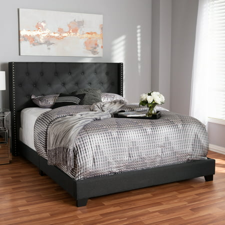 Double Fabric Bed (Baxton Studio Brady Modern and Contemporary Charcoal Gray Fabric Upholstered King Size Bed )