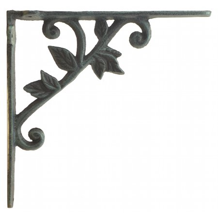 Wall Shelf Bracket - Vine & Leaf - Verdigris Cast Iron - 8.375
