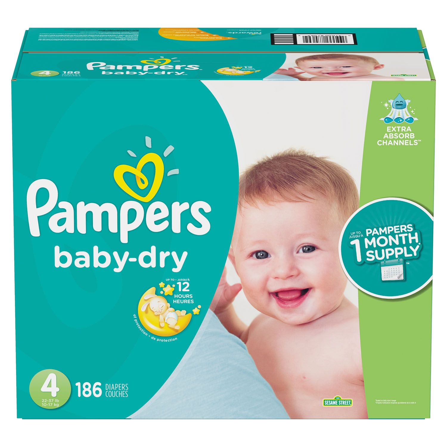 Pampers Baby Dry Diapers Size 4 -186 ct. (22-37 lb.)