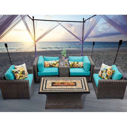 TK Classics Venice 6 Piece Fire Pit Seating Group with Cu...