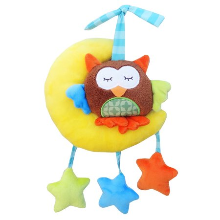 Baby Wind-up Musical Stuffed Animal Stroller Crib Hanging Bell with Music Box Plush Toy Gift for Infant Specification:The moon owl pulls the bell