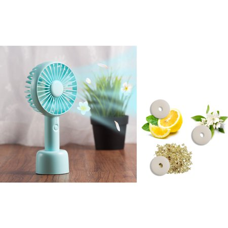 Personal Handheld Fan by Insten Baby Blue Mini Portable Fan Aroma Cooling Fan Battery Operated with Desk Stand for Office Indoor Outdoor Traveling Bundle with 3-Piece Aromatherapy Replacement Pads