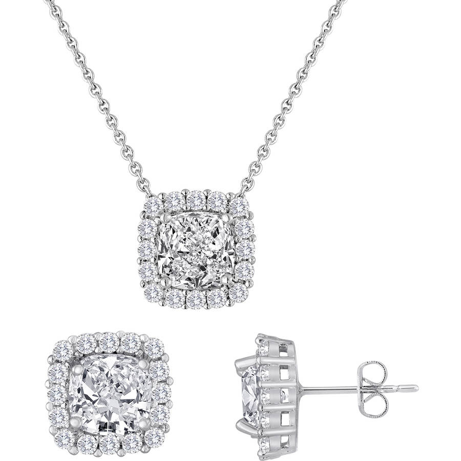 Simulated White Sapphire and CZ Fine Silver-Plated Boxed Set with Earring and Pendant, 18""