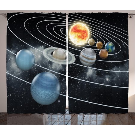 Galaxy Curtains 2 Panels Set, Solar System All Eight Planets and the Sun Pluto Jupiter Mars Venus Science Fiction, Window Drapes for Living Room Bedroom, 108W X 84L Inches, Black Grey, by