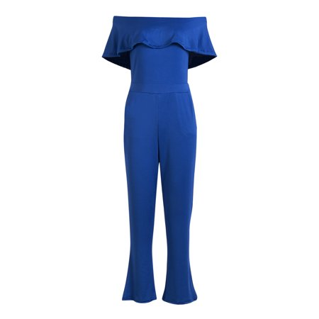 New Style Women Sexy Off Shoulder Jumpsuit Sleeveless Ruffles Neck Ladies Clubwear Summer Playsuit Bodycon Party Jumpsuit Blue M](Blue Jumpsuit)