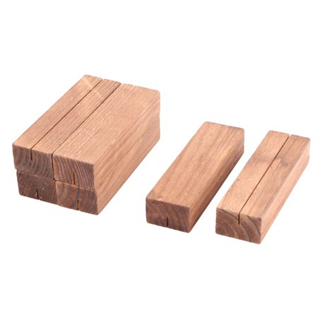 Fmaliy Wedding Wood Rectangle Note Memo Picture Photo Business Card Clip 6 Pcs ()