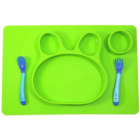 - Sunology Mess Control 100% Silicone Bunny Shaped Plate with Utensils - Green