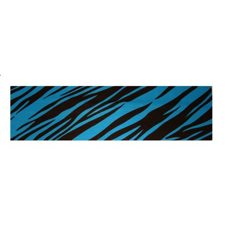 Kenz Laurenz Cotton Headband Soft Stretch Headbands Sweat Absorbent Elastic Head Band Zebra Teal (Zebra Head Band)
