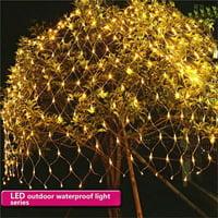 96LED Net Grid String Light Decorate Garden Fairy Light Christmas Wedding Party Holiday Light US plug,Warm white