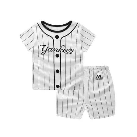 OUMY Baby Boys Summer Short Sleeve T-shirt Tops+Short Pants Outfit Set (Toddler Shirt Set)