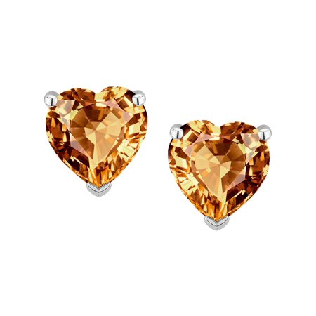 Heart Shape 6mm Simulated Imperial Yellow Topaz Earrings Studs