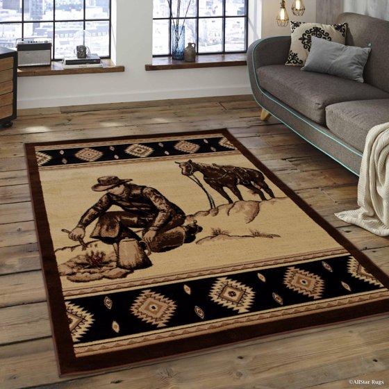 Walmart Moose Rug: Brown Prints Fish Acorns Bear Cabin Moose Wildlife Area