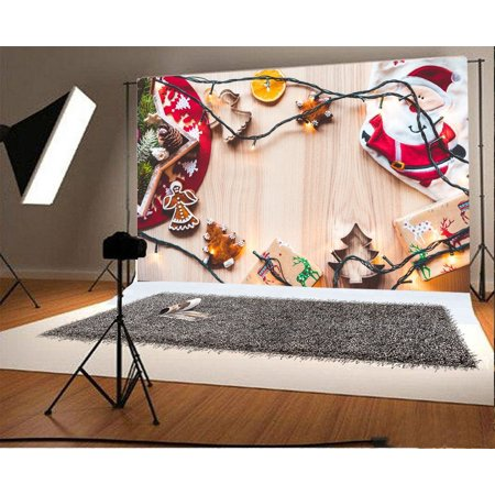 HelloDecor Polyster 7x5ft Christmas Backdrop Santa Claus String Lights Gift Reindeer Gingerbread Pine Cone Rustic Wood Plank Xmas Photography Background Kids Adults Photo Studio Props (Pine Cone Crafts For Adults)