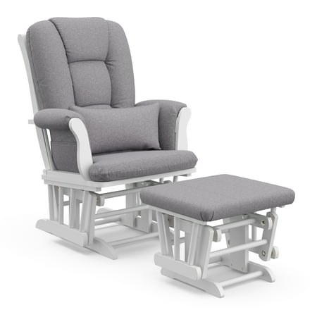 Storkcraft Swirl Tuscany Glider and Ottoman incl Lumbar Pillow White with Slate Gray Cushions