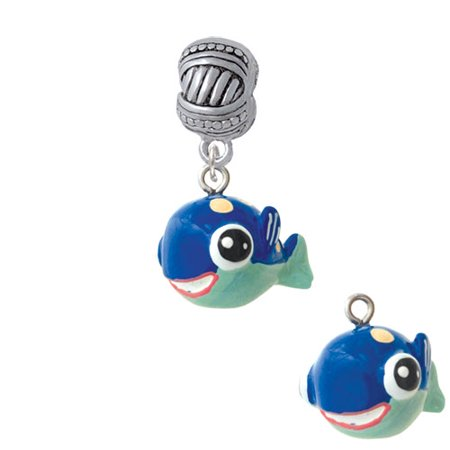 - Resin Blue Fish with Pink Polka Dots - Large Rope with Cross Beads Charm Bead