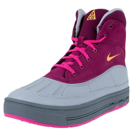 Nike Girls Woodside 2 High Big Kids Boots Raspberry Red  Pink Foil  Wolf Grey  Laser Orange 4Y
