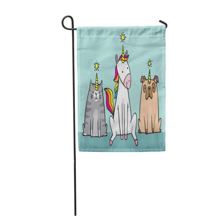 POGLIP Imposter Unicorn and Her Pets Cat Caticorn and Pug Unipig Cute Cartoon File Dog Garden Flag Decorative Flag House Banner 12x18 inch - image 1 de 1