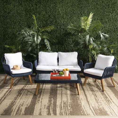 Bungalow Rose Doherty Outdoor 4 Piece Sofa Seating Group Set with Cushion